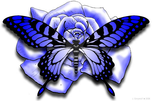 Blue Rose and Butterfly