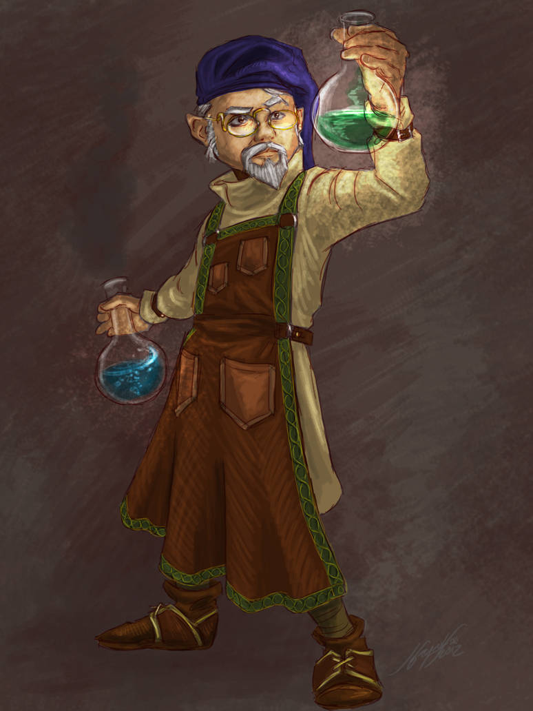 Gnome Alchemist by JordanGreywolf