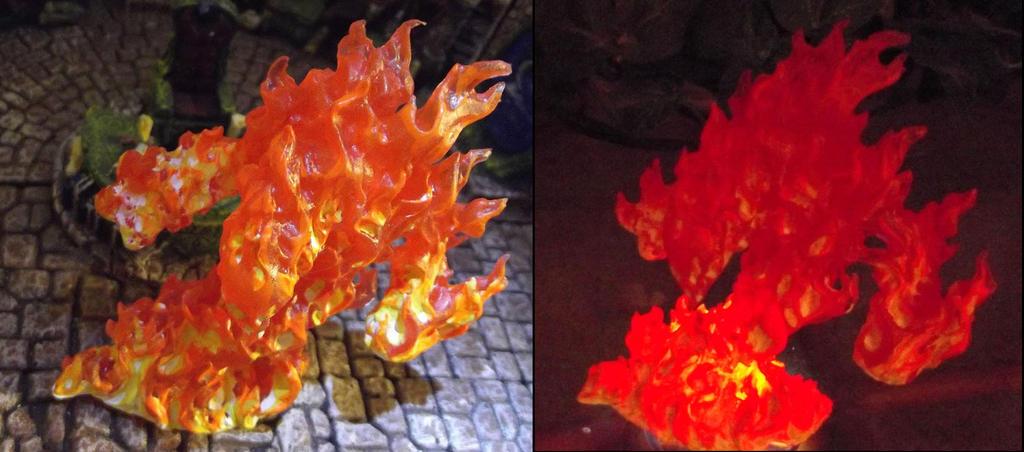 Reaper 77082 Fire Elemental / Light-Up Comparison by ...