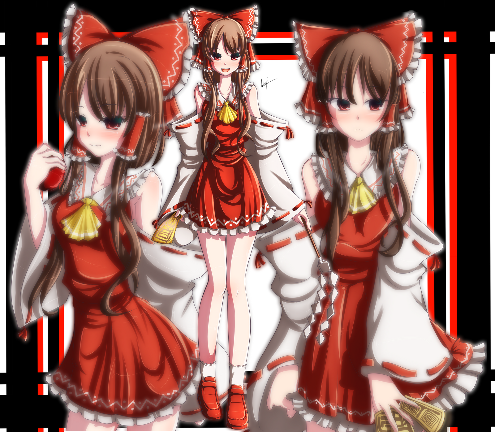 hakurei reimu, final. 100th digital drawing on DA by ImKyonYuu