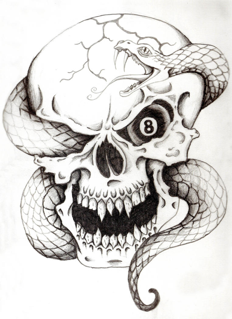 Skull with Snake Tattoo Drawing