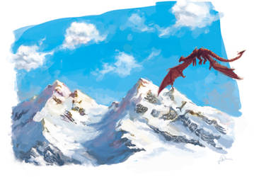 Dragon Mountains Doodle by MrHarp