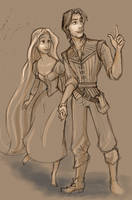 Rapunzel and Flynn by XxAyuNANAxX