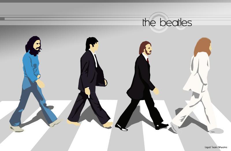 ビートルズのアビーロードのイラスト壁紙
