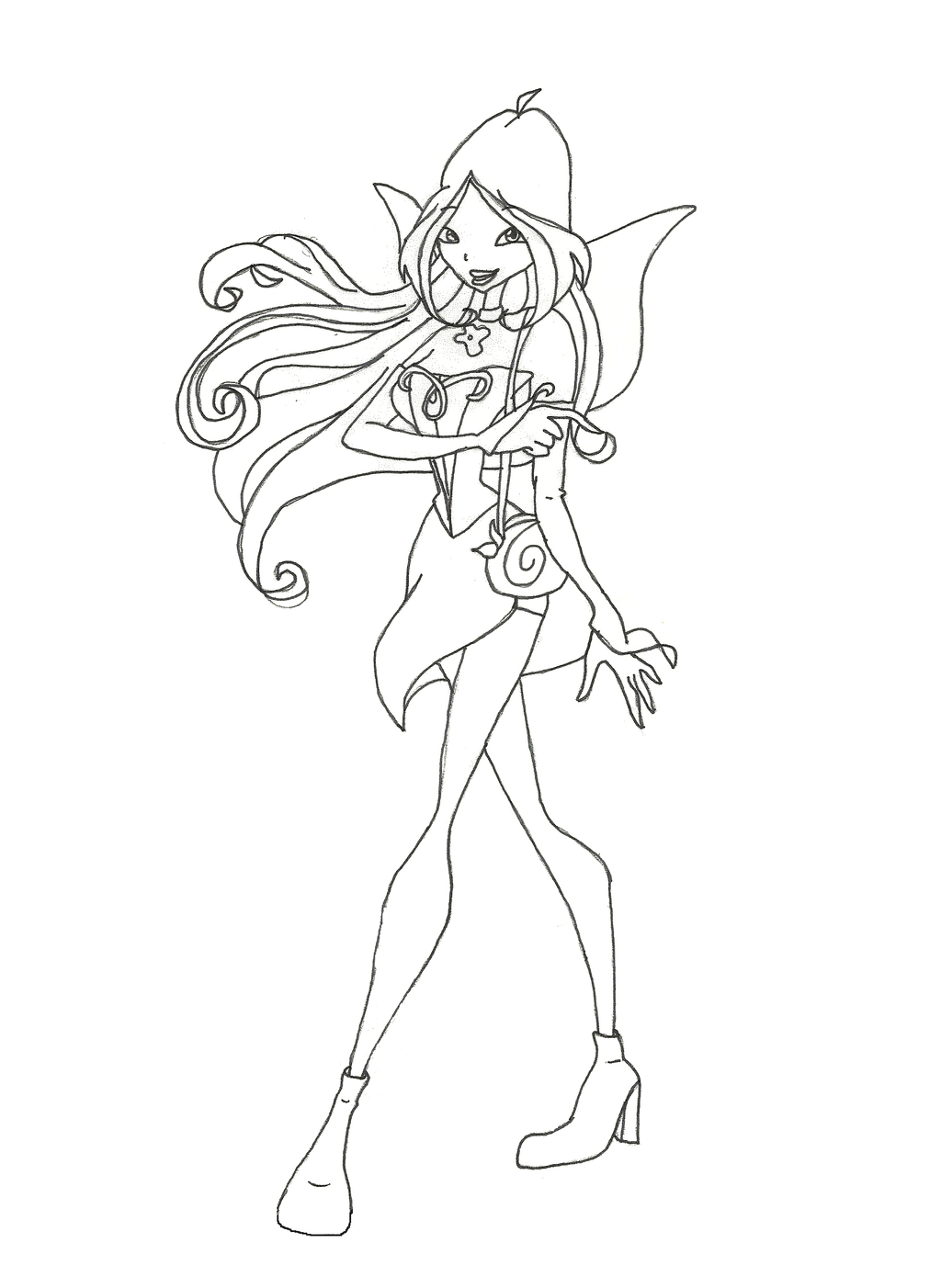 winx club charmix flora coloring page by winxmagic237