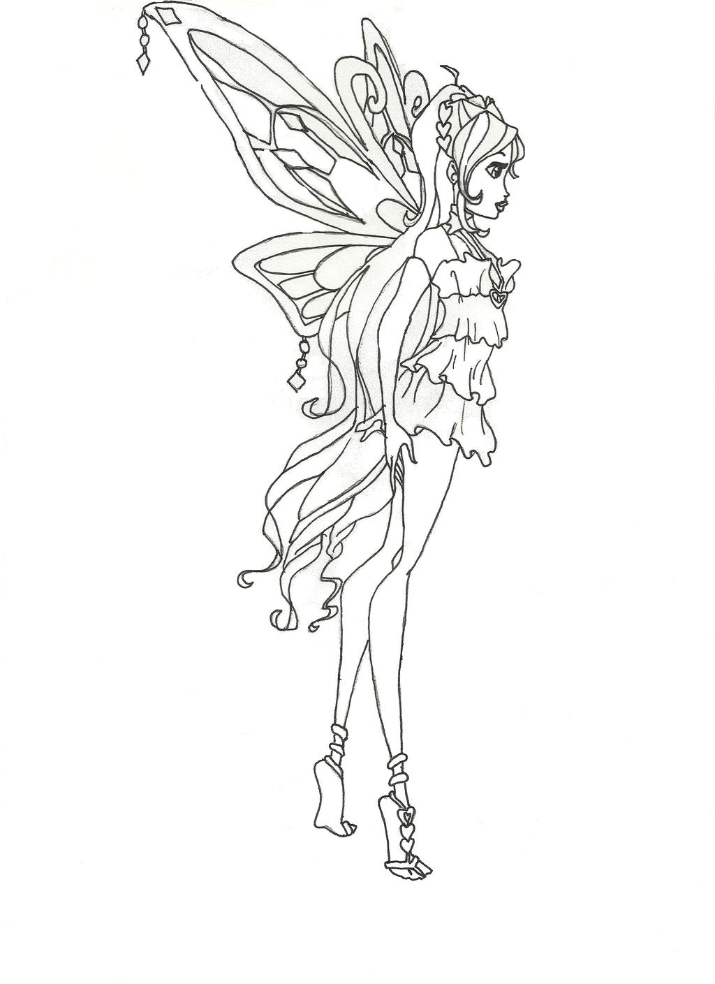 winx club bloom enchantix coloring pages - winx club enchantix bloom coloring page side view by