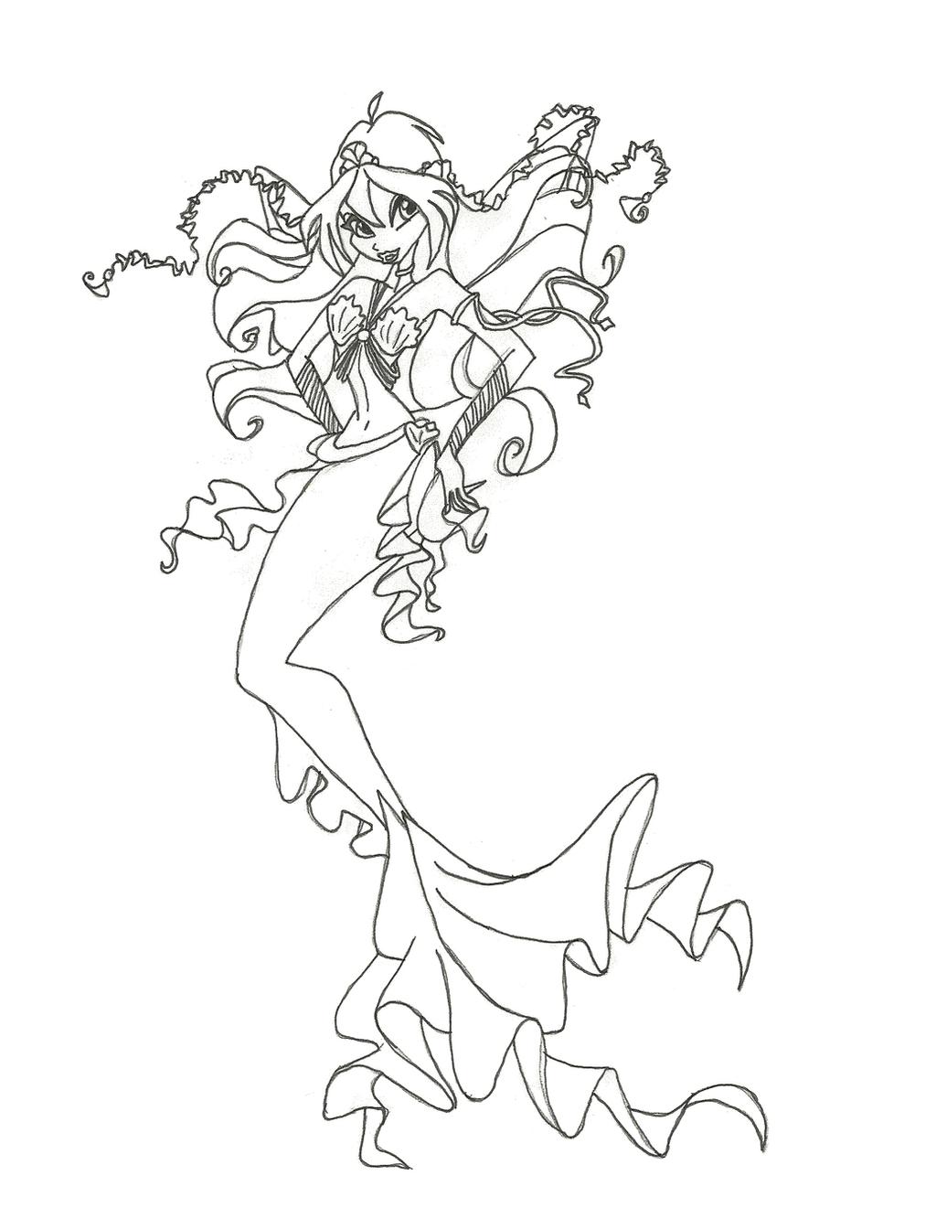 Winx Club Mermaid Bloom Coloring Page By Winxmagic237