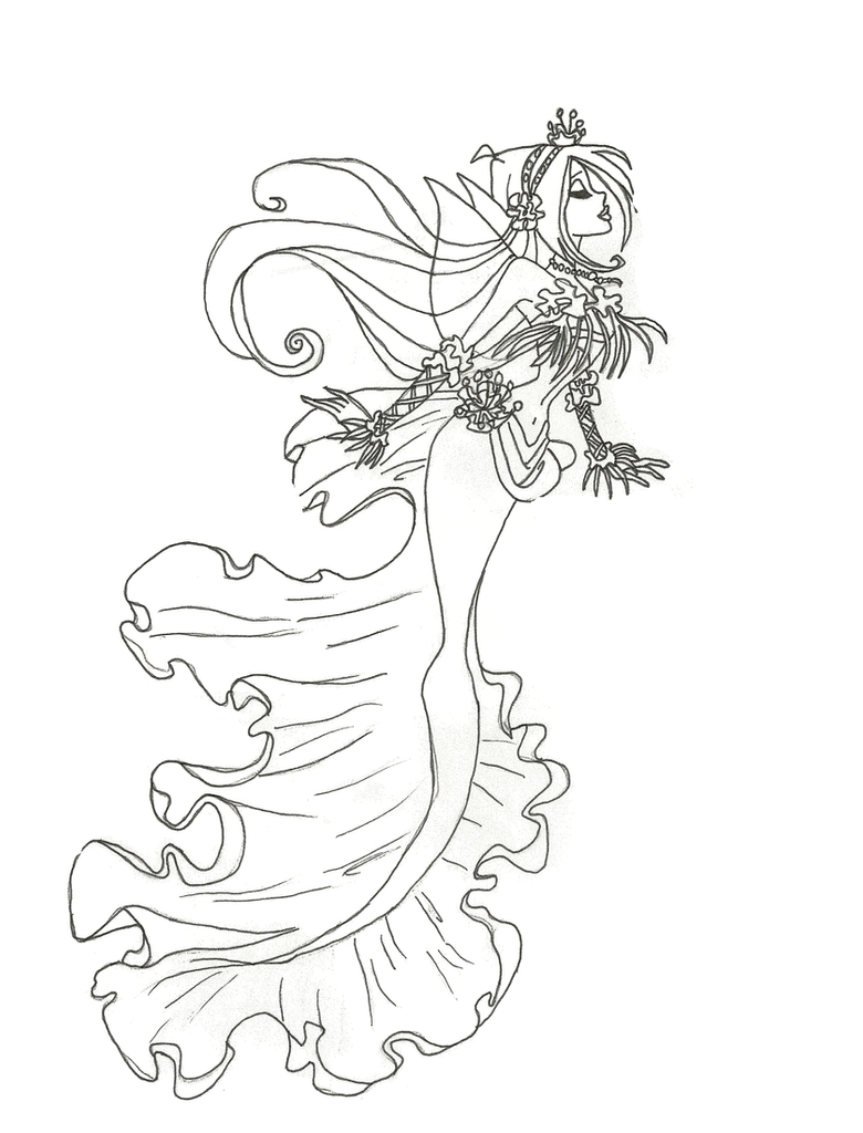 Winx club mermaid flora coloring page by winxmagic237 on for Winx club coloring pages flora