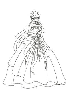 Winx Club Ball Gown Stella Coloring Page