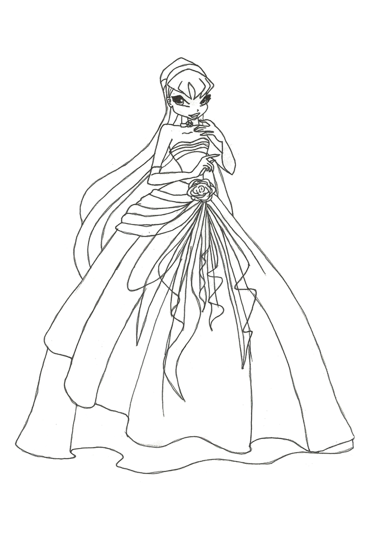 Winx Club Ball Gown Stella Coloring Page By Winxmagic237 On DeviantArt