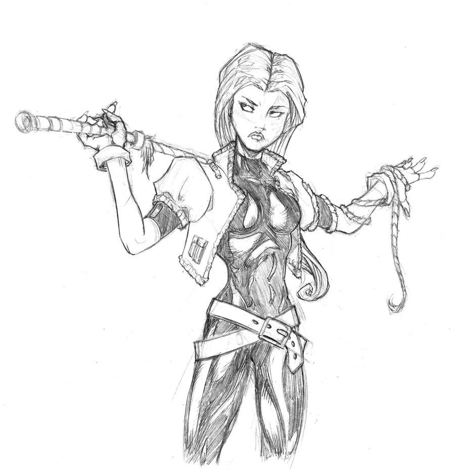 Nameless Badass Girl Sketch By BrunoMa On DeviantArt