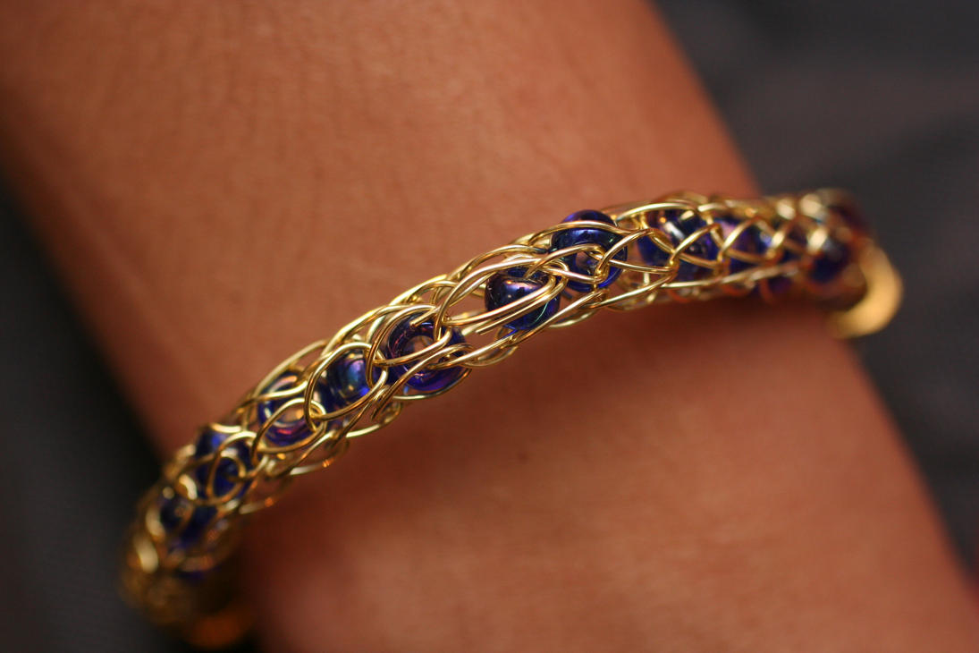 Knitting With Wire And Beads : Gold viking wire knit bracelet with beads by versalla on