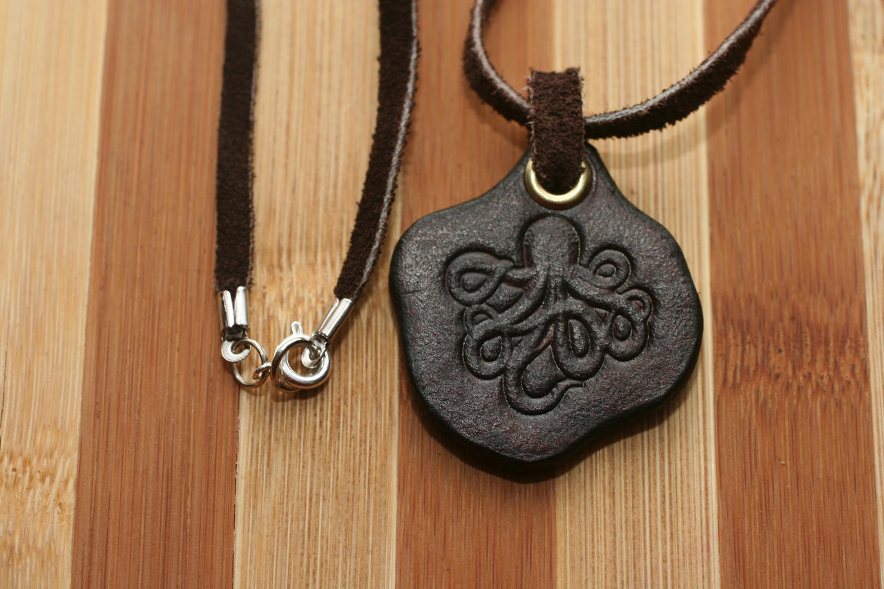 leather necklace with leather octopus pendant by versalla