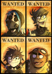 Wanted posters - Post-Apocalypse Gorillaz AU by Ashesfordayz