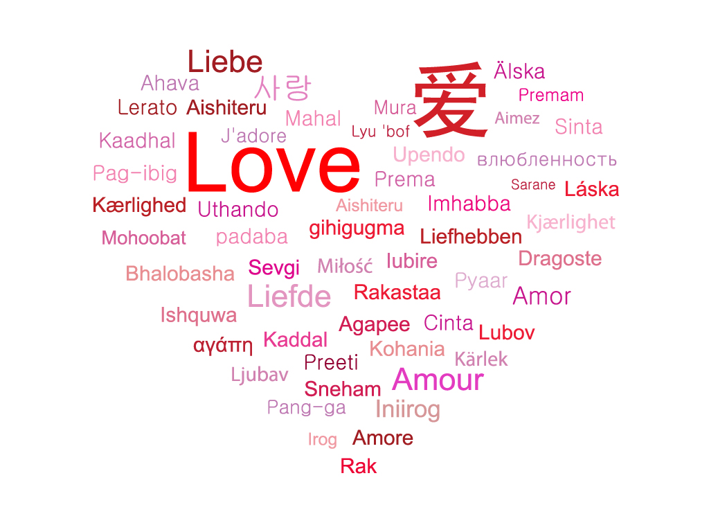 How to spell love in different languages