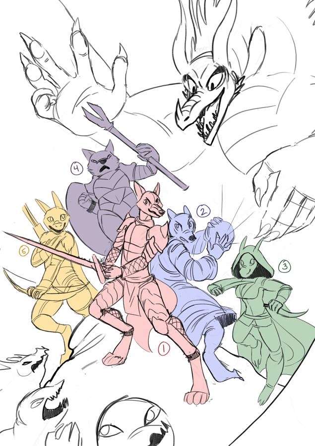 Dungeons and Dragons YCH by Rikkoshaye