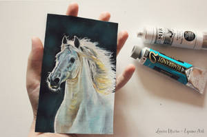 Tiny horse portrait by luequineart