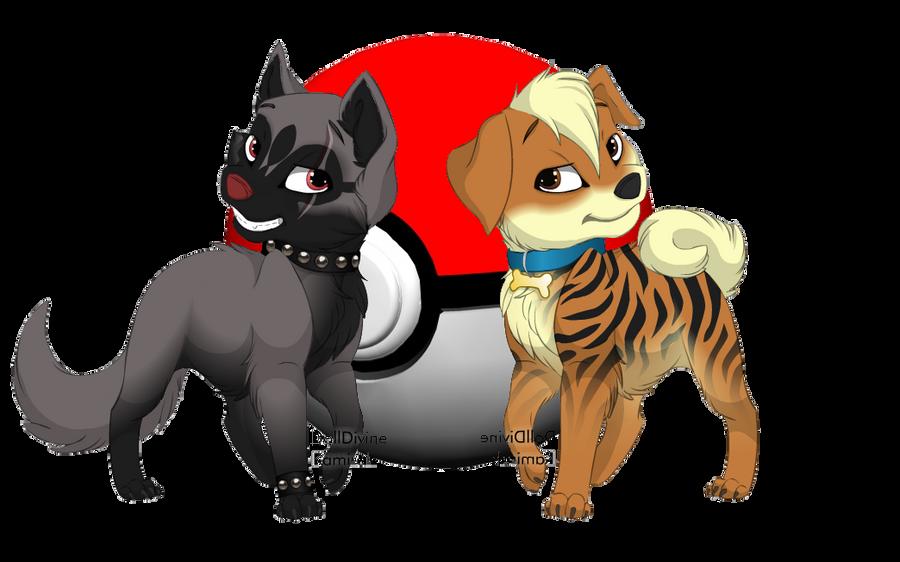 Poochyena and Growlithe by RayFloret on DeviantArt