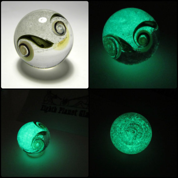 Glow in the Dark Glass Marble - Swirls by AmyLarcombe
