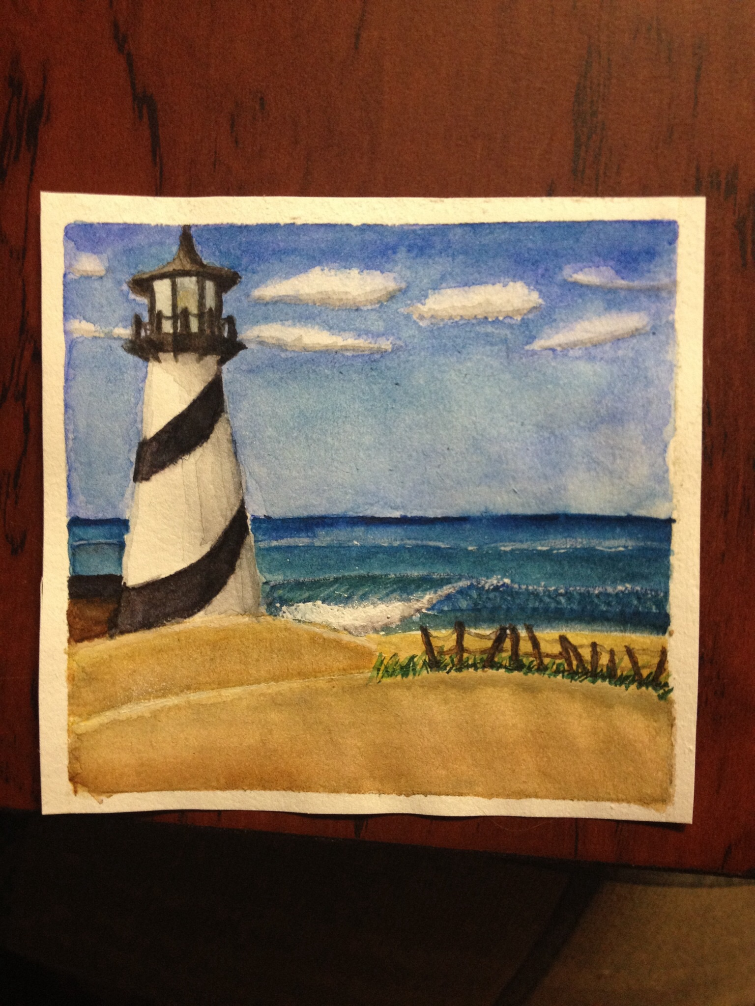 Lighthouse watercolor by midnightfox1
