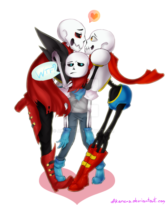 UF,UT!Paps And US!Sans By Akane-S On DeviantArt
