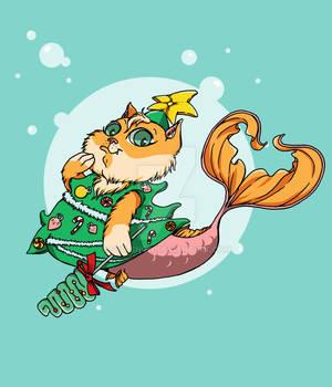 Mermaid Cat in Funny Costume