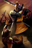 Gregor Clegane on the battlefield by NickKalinin