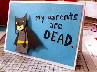 Sad Batman Greeting Card by Hatpire