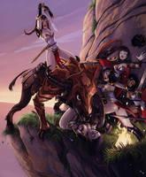 Amazons vs. Minotaur by Alexi-C