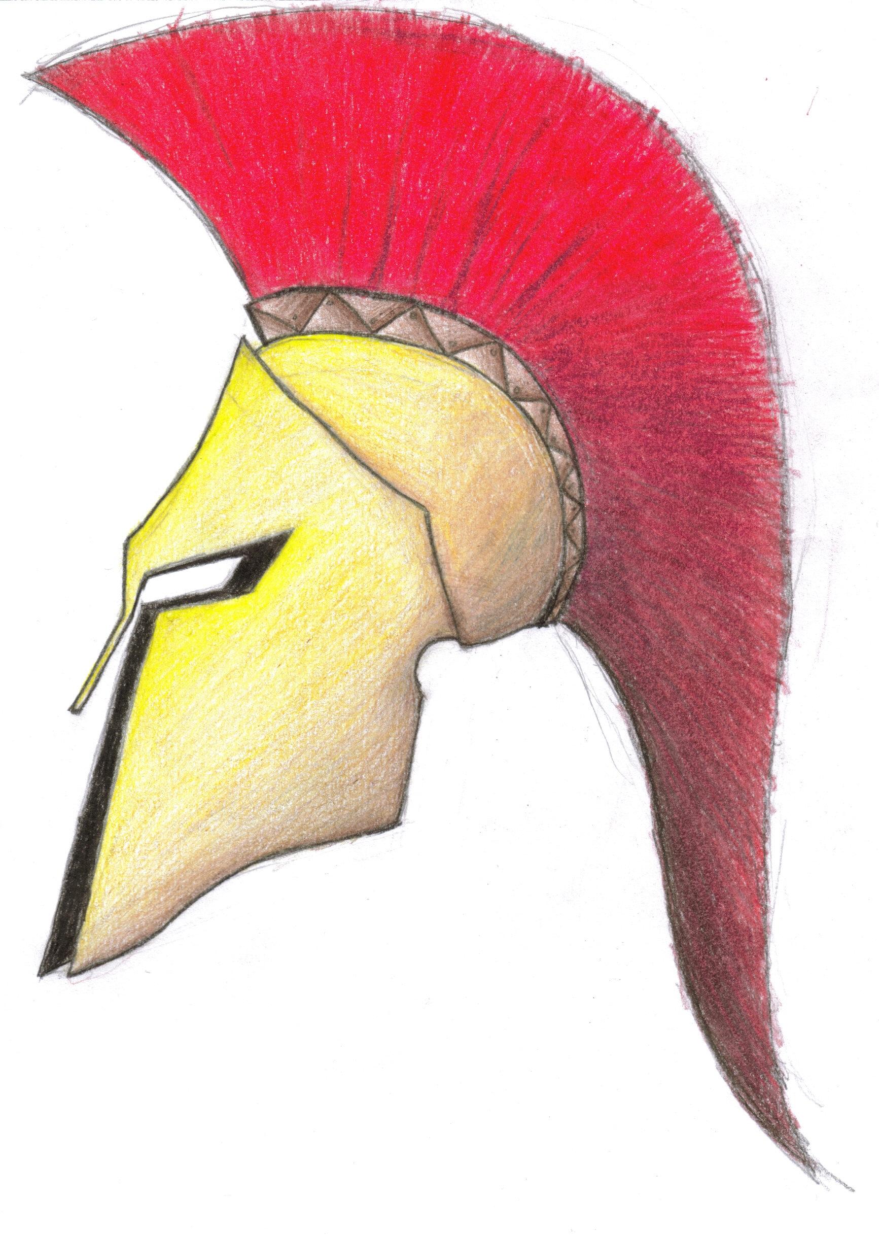 Spartan Helmet Image- Front View Spartan Helmet Image- Side ViewGreek War Helmet Drawing