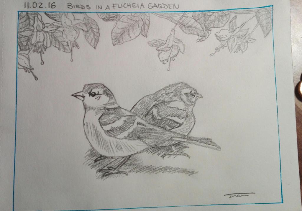 Birds in a Fuchsia Garden by Darknessangel12