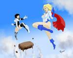 Power Girl and Atlee by fukujinzuke