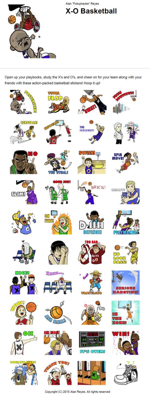 Line app stickers: X-O Basketball by fukujinzuke