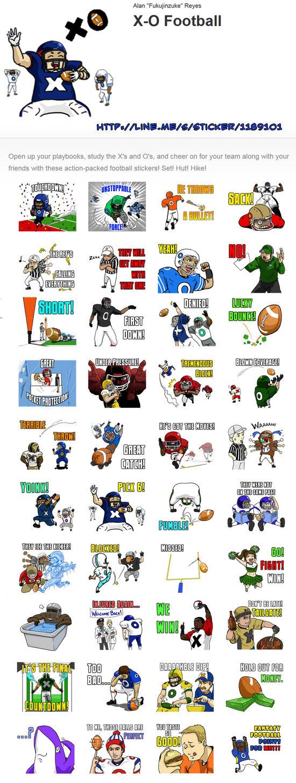 X-O Football sticker set for LINE app by fukujinzuke
