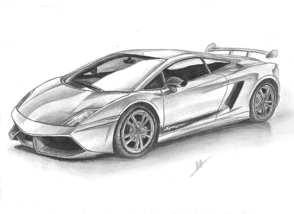 lamborghini gallardo draw by samuvt on deviantart - Lamborghini Black And White Drawing