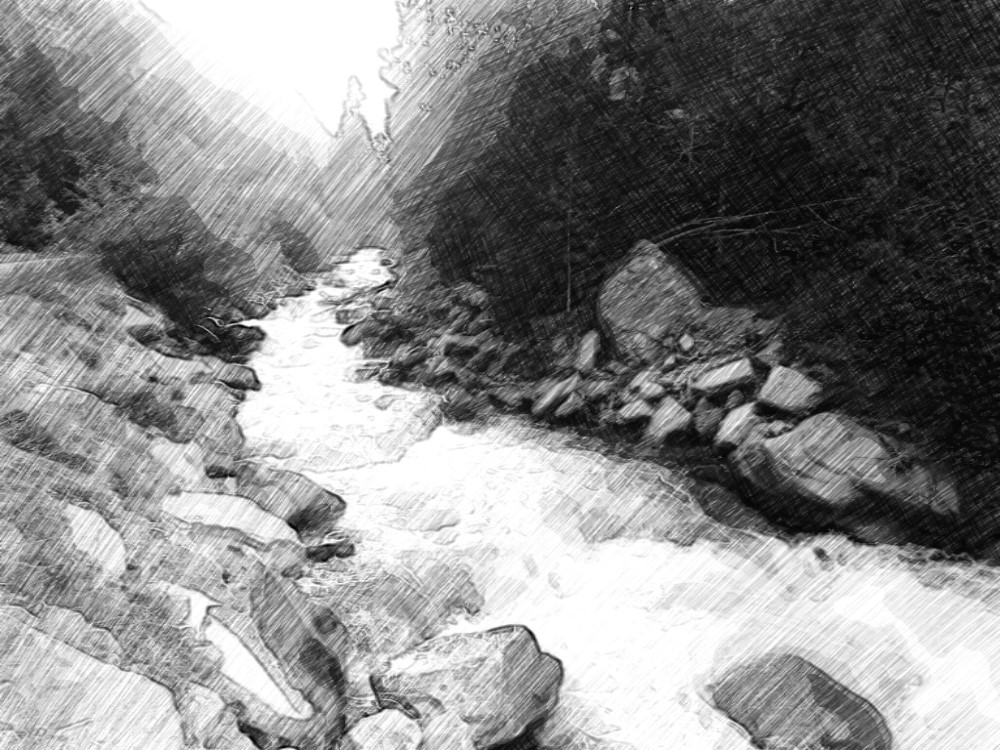 waterfall/river sketch by AngelsSilverWings