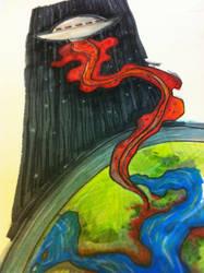 UFO leaves planet by davidbigler