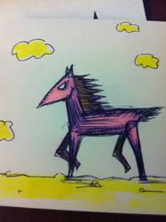 Stiff Legged Pink Pony by davidbigler