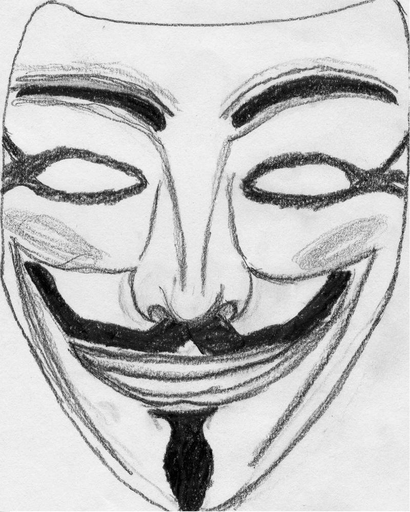 V For Vendetta Mask Drawing Drawings: Guy Fawkes M...