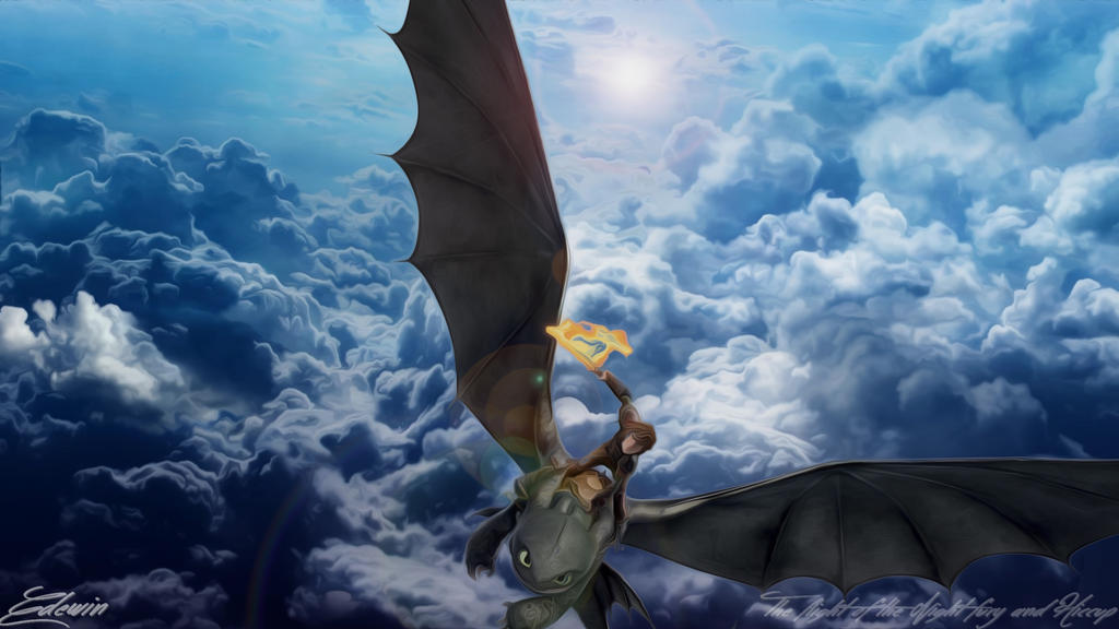 The flight of the Night fury and Hiccup