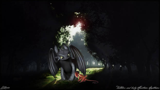 Toothless and baby Monstrous Nightmare