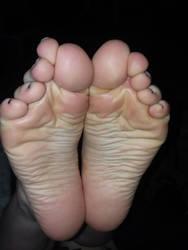 Freshly licked wrinkled soles!