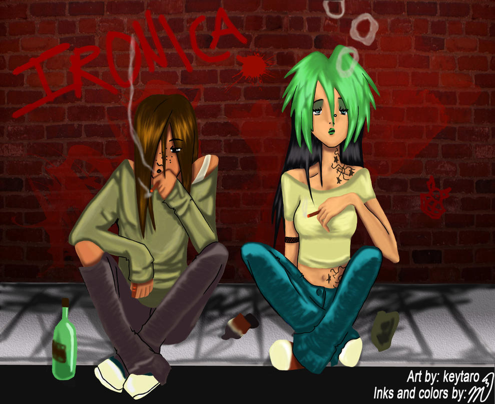 IRONICA: Smoking Buddies COLOR by StrayPhoenix