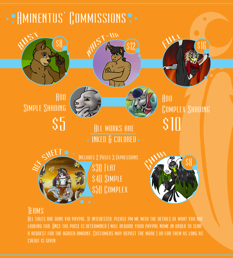 Commission Price Sheet - Sept 2014 by Aminentus