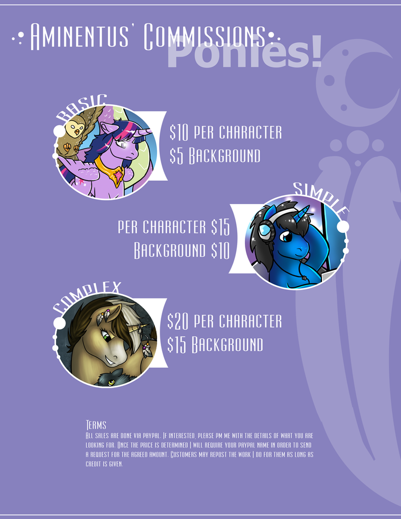 Commission Price Sheet - Ponies - Sept 2014 by Aminentus