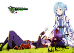Sword Art Online:Konno Yuuki+Asuna Good Bye PNG