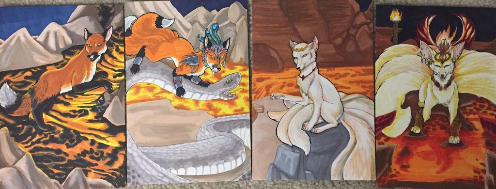 Kitsune Tarot- Fire Court by nonanut