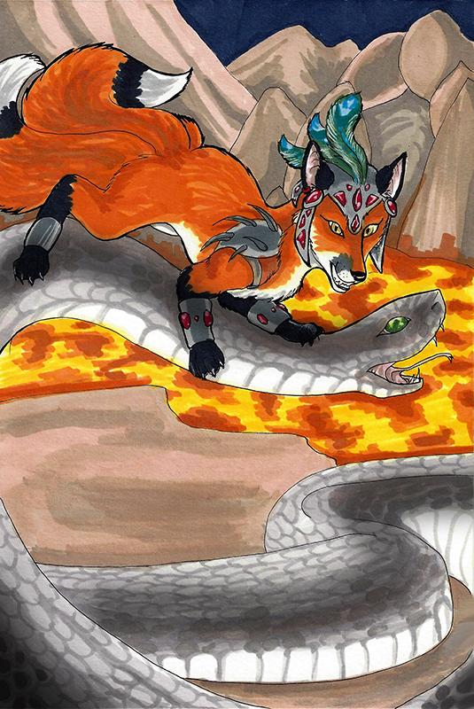 Kitsune Tarot: Knight of Wands by nonanut