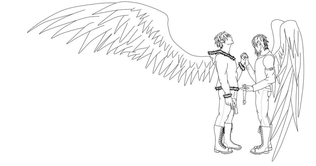 Icarus and Alex Lineart by wolfluv95