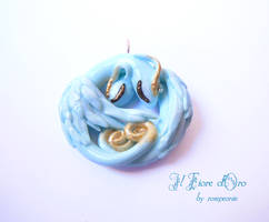 Twin blue dragons pendant by rosepeonie
